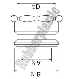 desenho técnico do engate adaptador rosca fêmea em aluminio
